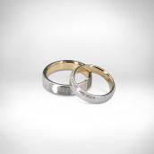 Vestuviniai žiedai Nr. 217 - baltas auksas 585, geltonas auksas 750, briliantai