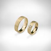 Vestuviniai žiedai Nr. 216 - geltonas auksas 585, briliantas