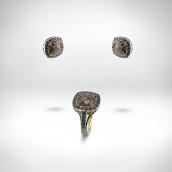 Žiedas ir auskarai su dūminiais kvarcais - oranžinis auksas 585, dūminiai kvarcai