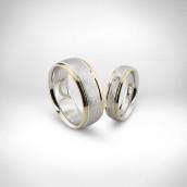 Vestuviniai žiedai Nr. 135 - baltas ir raudonas auksas 585, briliantas