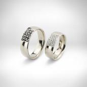 Vestuviniai žiedai Nr. 136 - baltas auksas 585, juodi deimantai, briliantai