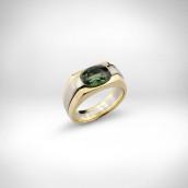 Žiedas - baltas ir geltonas auksas 750, žaliasis safyras