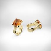 Žiedas - geltonas auksas 750, citrinas, rubinai