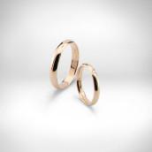 Vestuviniai žiedai Nr. 143 - raudonas auksas 585, briliantas