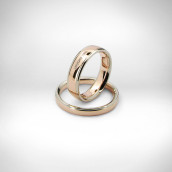 Vestuviniai žiedai Nr. 144 - raudonas ir baltas auksas 585, briliantai