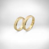 Vestuviniai žiedai Nr. 149  - geltonas auksas 585, briliantai