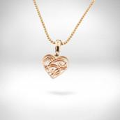 Pakabukas-širdutė - raudonas auksas 585