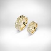 Vestuviniai žiedai Nr. 167 - geltonas auksas 585, briliantai