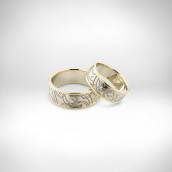 Vestuviniai žiedai Nr. 177 - baltas ir geltonas auksas 585, briliantai