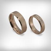 Vestuviniai žiedai Nr. 190 - raudonas auksas 585, briliantai