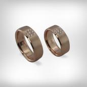 Vestuviniai žiedai Nr. 191 - raudonas auksas 585, briliantai