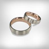 Vestuviniai žiedai Nr. 194 - raudonas ir baltas auksas 585, briliantai