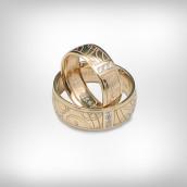 Vestuviniai žiedai Nr. 195 - geltonas auksas 585, briliantai