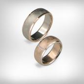 Vestuviniai žiedai Nr. 196 - baltas ir raudonas auksas 585, briliantai