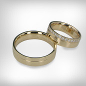 Vestuviniai žiedai Nr. 198 - geltonas auksas 585, briliantai