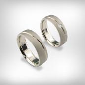 Vestuviniai žiedai Nr. 199 - baltas auksas 585, briliantas