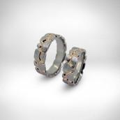 Vestuviniai žiedai - baltas ir geltonas auksas 585