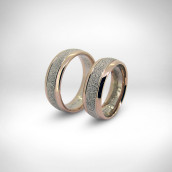 Vestuviniai žiedai - rausvas/baltas auksas 585