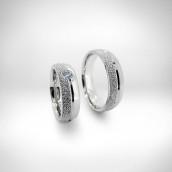 Vestuviniai žiedai - baltas auksas 585, deimantas