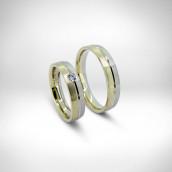 Vestuviniai žiedai - baltas ir geltonas auksas 585, briliantas