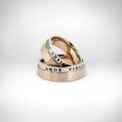 Vestuviniai žiedai - rausvas ir baltas auksas 585