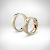 Vestuviniai žiedai - rausvas ir baltas auksas 585, briliantas