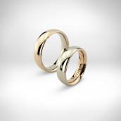 Vestuviniai žiedai - baltas ir rausvas auksas 585, briliantukas