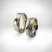 Vestuviniai žiedai - geltonas ir baltas auksas 750 su paladžiu, deimantai