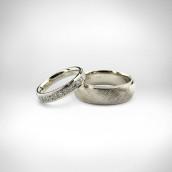Vestuviniai žiedai, - baltas auksas 585, briliantai