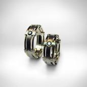 Vestuviniai žiedai - baltas, geltonas auksas 585, briliantas 0.10ct, juodas briliantas 0.10ct.