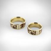 Vestuviniai žiedai Nr. 105 - geltonas auksas, 750 emalis