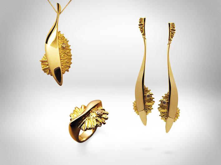 Auskarai, kulonas, žiedas - auksas 750, briliantai