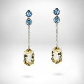 Auskarai - auksas 750, citrinai, topazai, cirkonai, deimantai