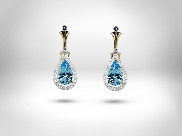 Auskarai - auksas 750, safyrai, topazai, deimantai