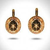 Auskarai - auksas 750, žvaigždiniai safyrai, briliantai