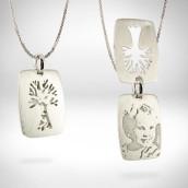 Medalionas portretinis su šeimos medžiu - auksas 585