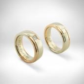 Vestuviniai žiedai-auksas 585, deimantas 0.15 ct princesė