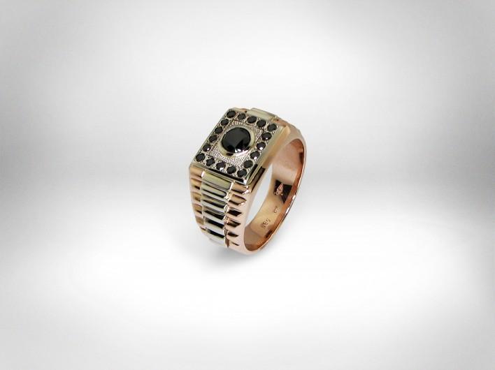 Vyriškas žiedas - auksas 585, juodieji deimantai