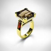 Žiedas - auksas 750, dūminis kvarcas, granatai