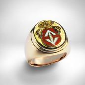 Žiedas vyriškas herbinis - auksas 585, emaliavimas