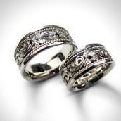 Vestuviniai žiedai - auksas 585, juodieji briliantai
