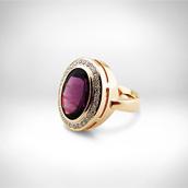 Žiedas - auksas 585, ametistas, briliantai