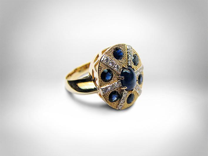 Žiedas - auksas 585, safyrai, briliantai