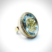 Žiedas - auksas 585, topazas, briliantai