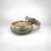 Vestuviniai žiedai • Baltas, geltonas auksas 585, brilijantas (kvadratinis - princesė)