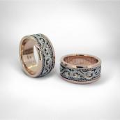 Vestuviniai žiedai • Rausvas, baltas auksas 585
