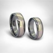 Vestuviniai žiedai • Titanas, rausvas auksas 585