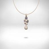 Pakabutis Nr. 250 - baltas auksas 750, natūralus perlas, safyrai
