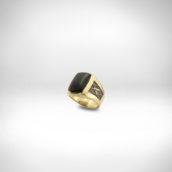 Žiedas Nr. 252 - geltonas auksas 585, falkonas