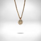 Pakabutis ir grandinėlė Nr. 253 - raudonas ir baltas auksas 585, princėsės formos deimantai DG VS2